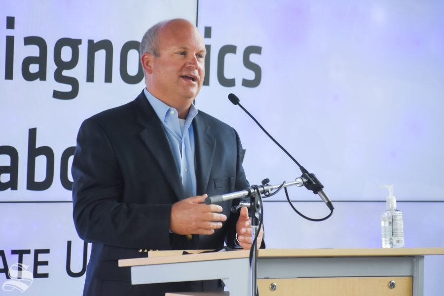 Wichita State's John Tomlin speaks about the new molecular diagnostics lab on Monday.