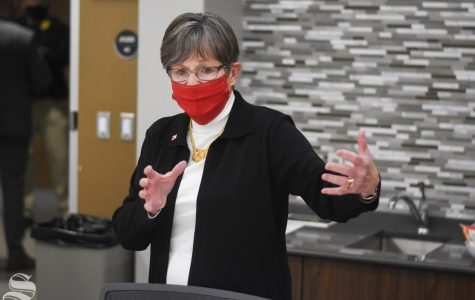 Governor of Kansas Laura Kelly answers questions during an interview with The Sunflower on Monday, Oct. 19. Kelly came to Wichita State's campus to speak at the opening of the new Molecular Diagnostics Lab in the John Bardo Center.