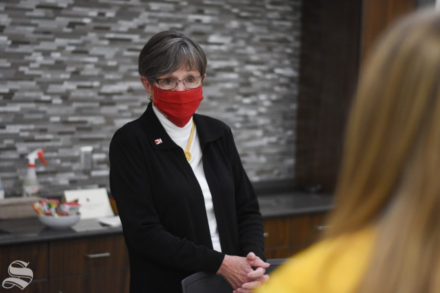 Governor of Kansas Laura Kelly answers questions during an interview with The Sunflower's Editor in Chief, Lindsay Smith,  on Monday, Oct. 19. Kelley came to Wichita State's campus to speak at the opening of the new Molecular Diagnostics Lab in the John Bardo Center.