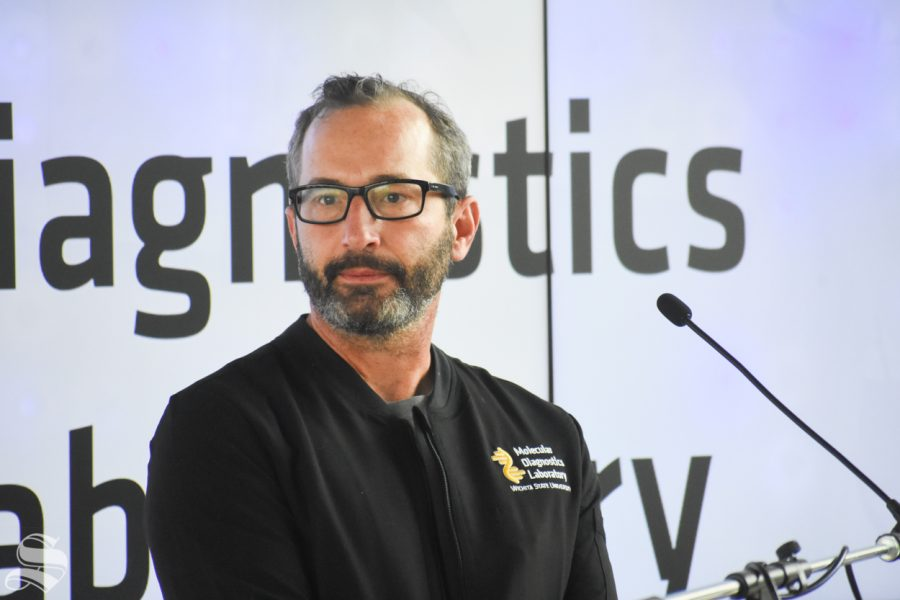 Dr. Alderston speaks at the opening of Wichita State's Molecular Diagnostics Lab on Monday, Oct. 19 inside the John Bardo Center.