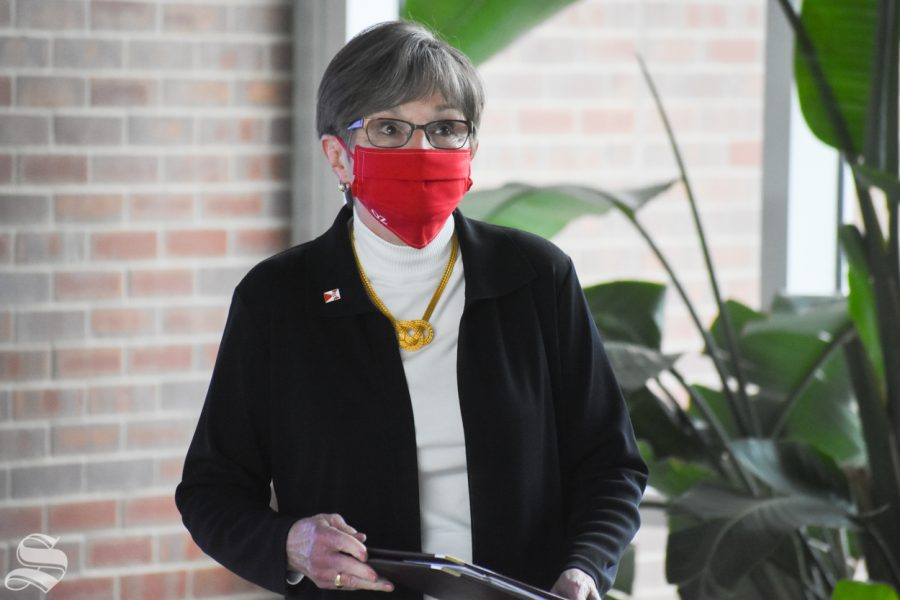 Governor of Kansas Laura Kelly sits inside the John Bardo Center during the opening of WSUs Molecular Diagnostics Laboratory on Monday, Oct. 19.