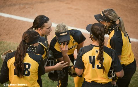 Wichita State senior Ryleigh Buck celebrates with her teammates during the scrimmage at Wilkins Stadium on Oct. 17, 2020.