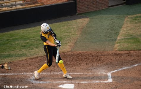 Wichita State freshman Jessica Garcia hits the ball during the scrimmage at Wilkins Stadium on Oct. 17, 2020.