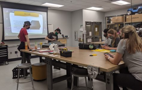 The Society of Cosplayers workshop and meeting on Wednesday evening in the John Bardo Center where they were focusing on foam work. Every workshop focuses on a different skill essential to cosplaying.
