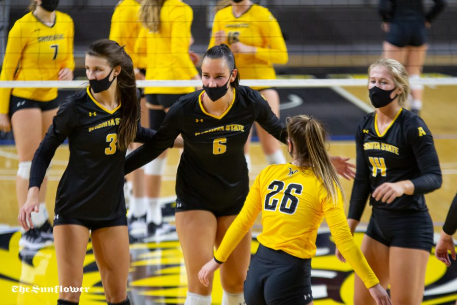 Wichita State senior Emma Wright celebrates with her teammates during the Black vs. Yellow scrimmage on Oct.1 at Koch Arena.