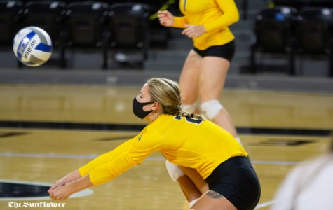 Wichita State redshirt junior Megan Taflinger digs the ball during the Black vs. Yellow scrimmage on Oct.1 at Koch Arena.