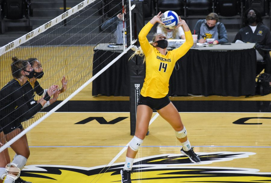 Wichita States McKayla Wuensch goes up for a set during the first set of the Black and Yellow Scrimmage on Friday, Oct. 16 inside of Charles Koch Arena.