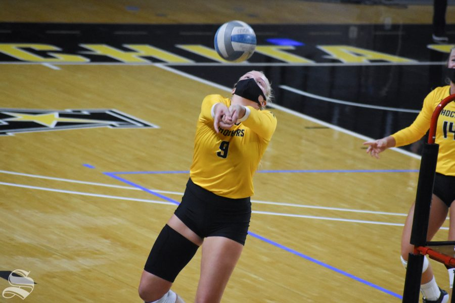 Wichita State freshman Sophie Childs passes the ball during the Black and Yellow Scrimmage on Friday, Oct. 16 inside Charles Koch Arena.