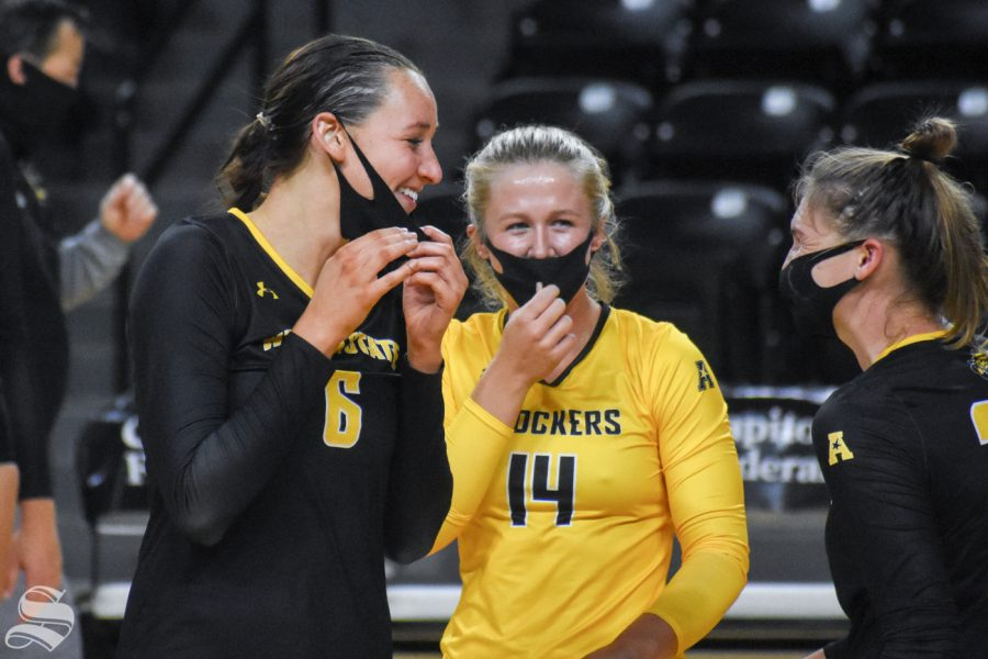 Wichita State senior Emma Wright laughs with her teammates during the scrimmage on Friday inside Charles Koch Arena.