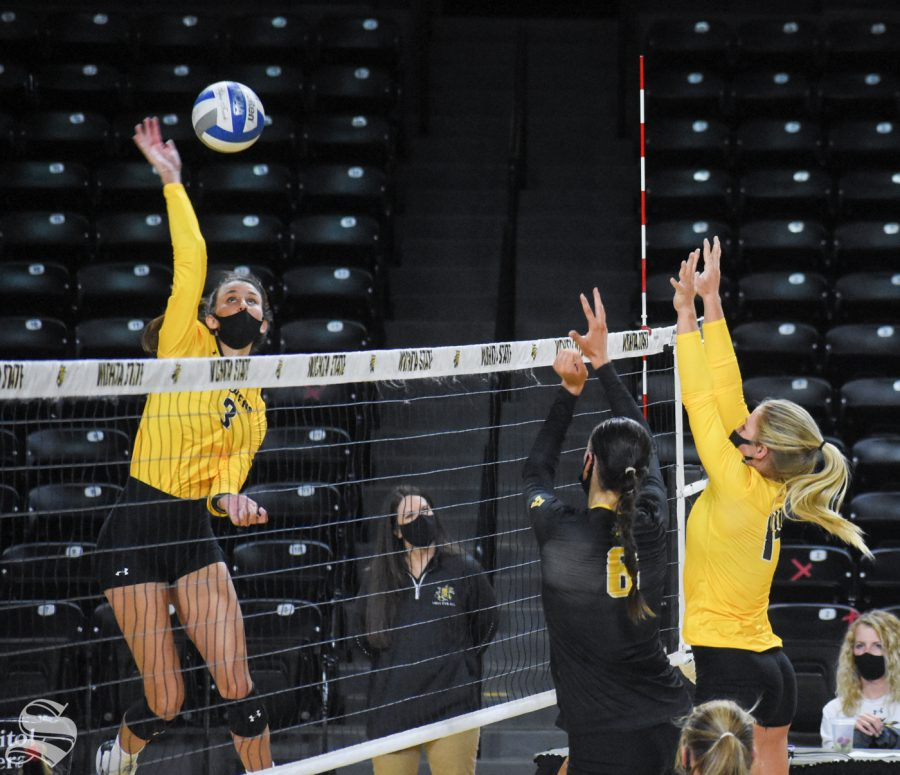 Wichita State redshirt sophomore Brylee Kelly hits the ball to the yellow team during the Black and Yellow Scrimmage on Friday inside Charles Koch Arena.