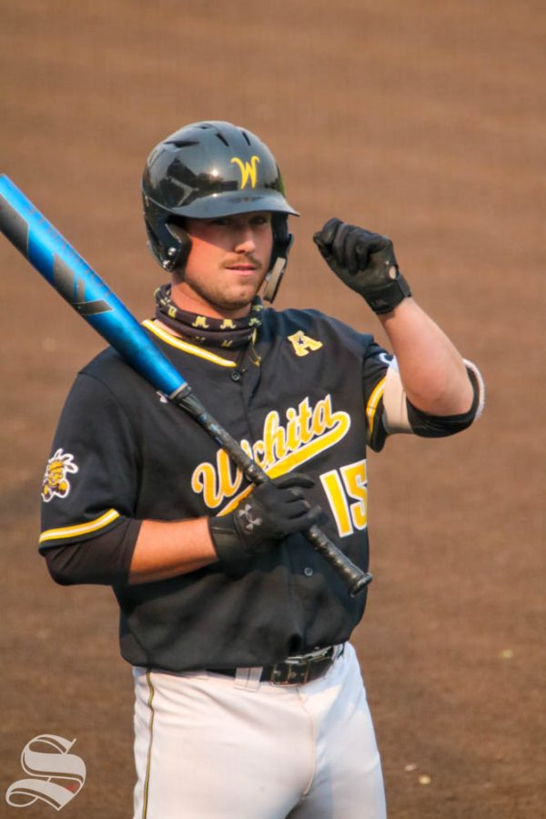 Wichita+State+junior%2C+Paxton+Wallace+gets+ready+to+bat+during+a+scrimmage+at+Eck+Stadium+on+Oct+17.