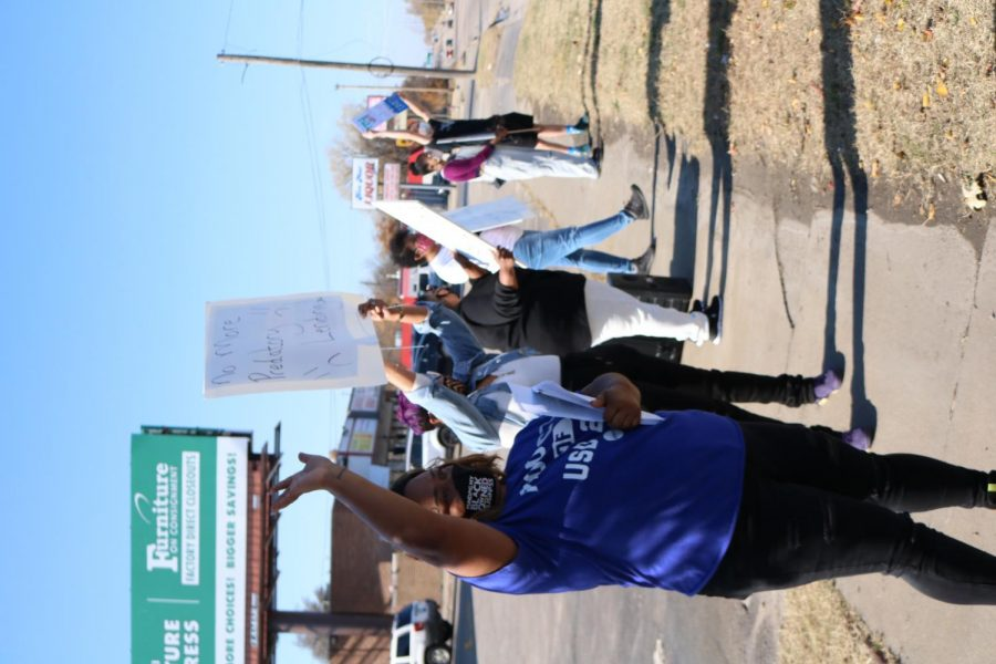 The Wichita community  was invited to protest against TitleMax on Nov. 7. Ti'Juana Hardwell organized this protest to educate the public about the predatory nature of loan businesses.