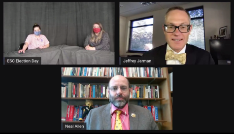 The ESC Election Day special was hosted by two students and featured Jeff Jarman, Elliott School director, Neal Allen, Political Science chair, and Ella Perkins, President of the College Democrats.