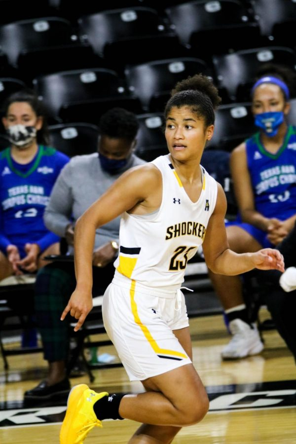 Wichita State junior, Seraphine Bastin runs across the court during a basketball game at Charles Koch Arena on Nov. 27.