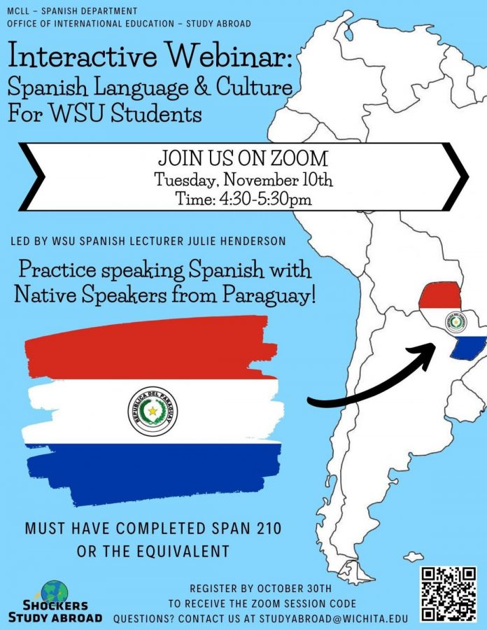 Spanish interactive webinar promotion poster.
