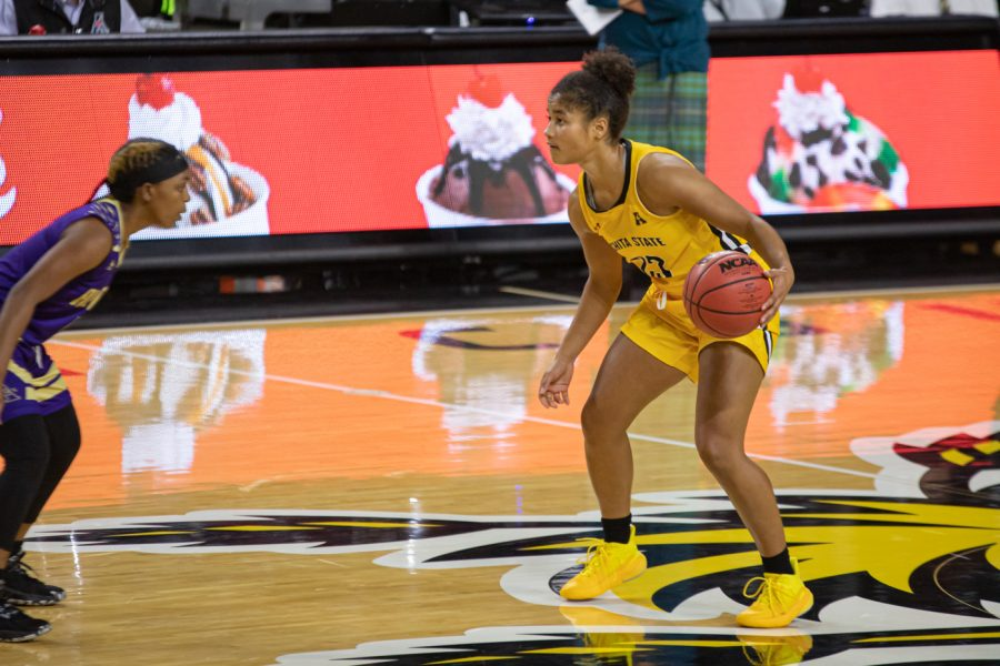 Wichita+State+junior+Seraphine+Bastin+dribbles+at+the+top+of+the+key+during+the+game+against+Alcorn+State+on+Nov.+30+at+Koch+Area.