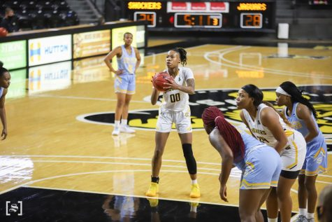 Wichita State junior Asia Strong gets set to shoot a free-throw during the game against Southern on Dec. 4 at Koch Area.