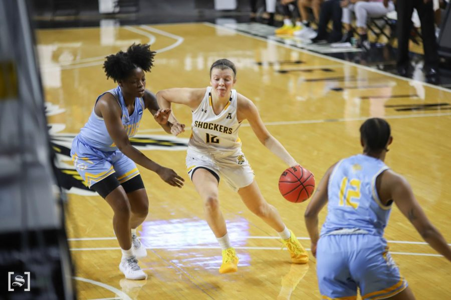 Wichita State junior Carla Bremaud drives to the basket during the game against Southern on Dec. 4 at Koch Area.