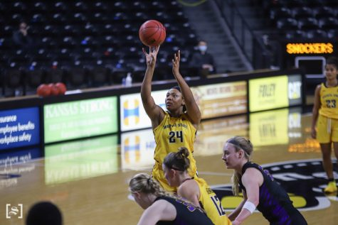 Wichita State junior Trajata Colbert shoots a free-throw during the game against Southern on Dec. 4 at Koch Area.