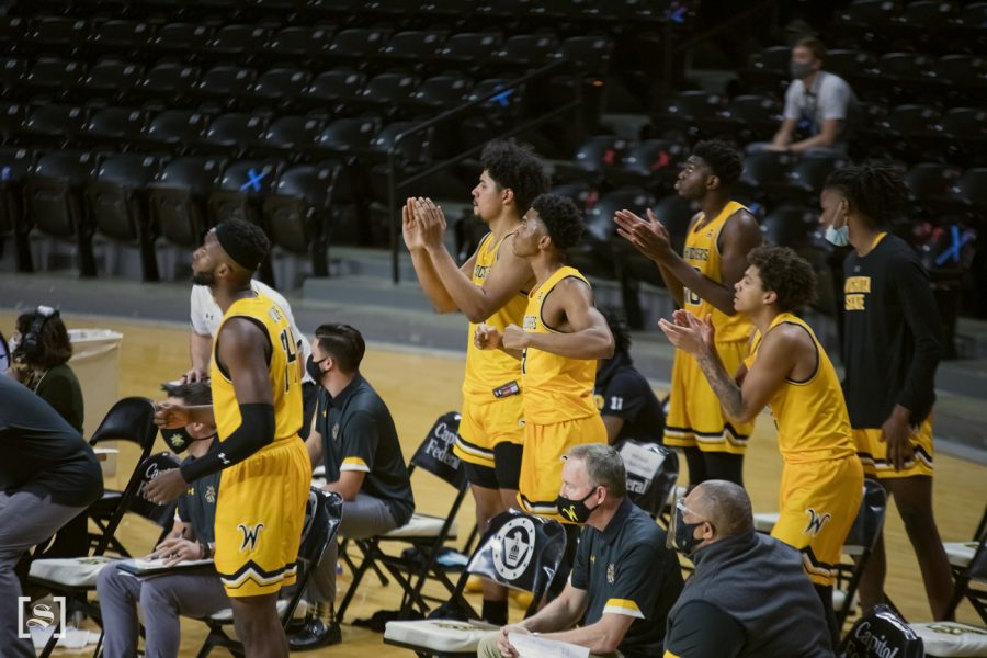Wichita+State+bench+cheers+for+their+teammates+during+the+game+against+OSU+at+Charles+Koch+Arena+on+Dec.12.