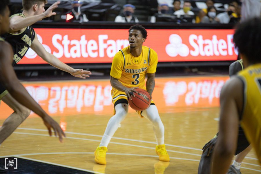 Wichita+State+redshirt+senior+Alterique+Gilbert+looks+to+shoot+during+the+game+against+ESU+at+Charles+Koch+Arena+on+Dec.+18.