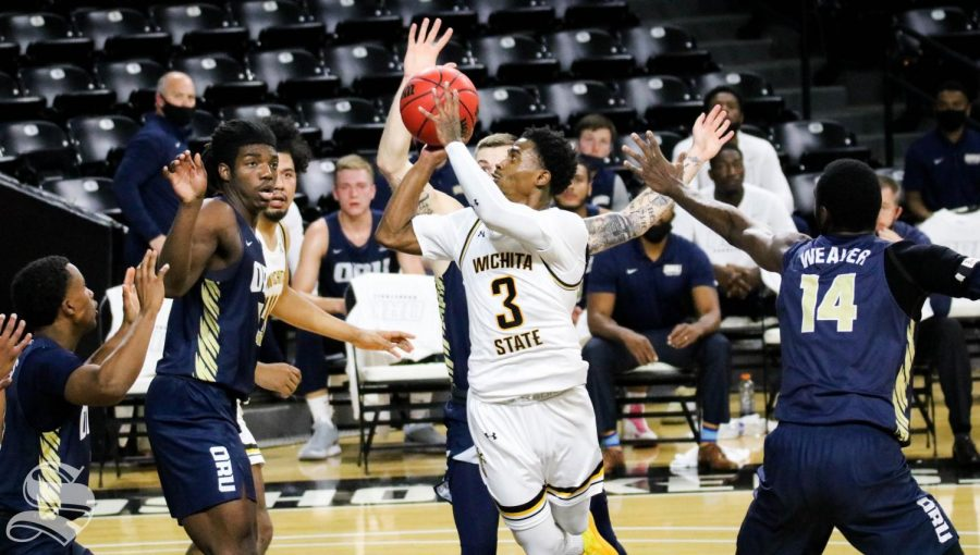 Wichita State senior, Alterique Gilbert shoots the ball during a game against Oral Roberts University at Charles Koch Arena on Dec. 2.