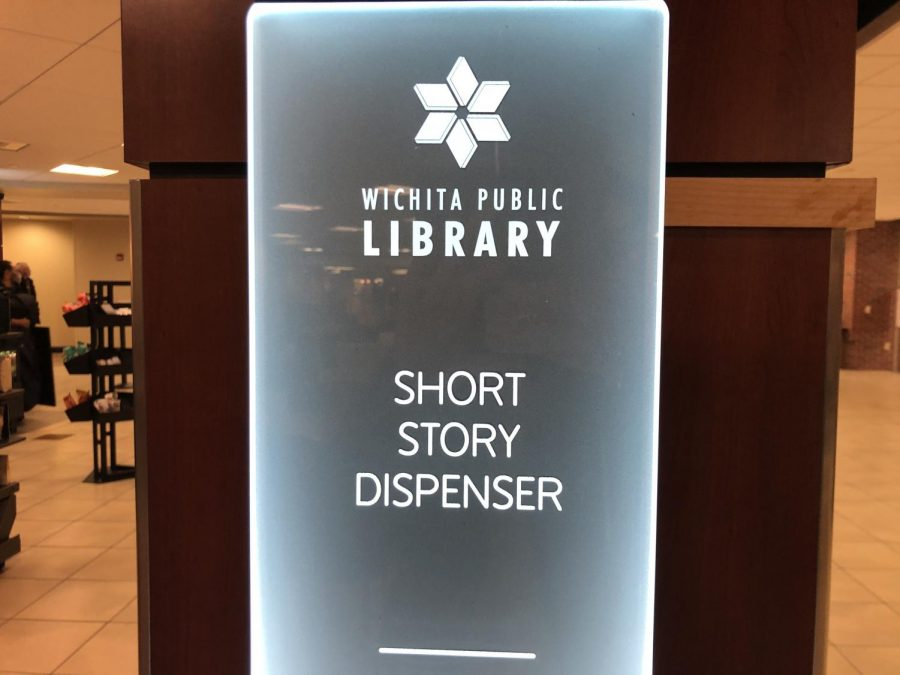 A Wichita Public Library story dispenser located at the Rhatigan Student Center.