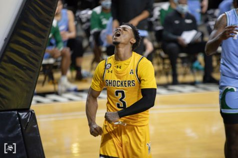 Wichita State redshirt senior Alterique Gilbert celebrates after getting an And-1 during the game against Tulane at Charles Koch Arena on Feb. 3.