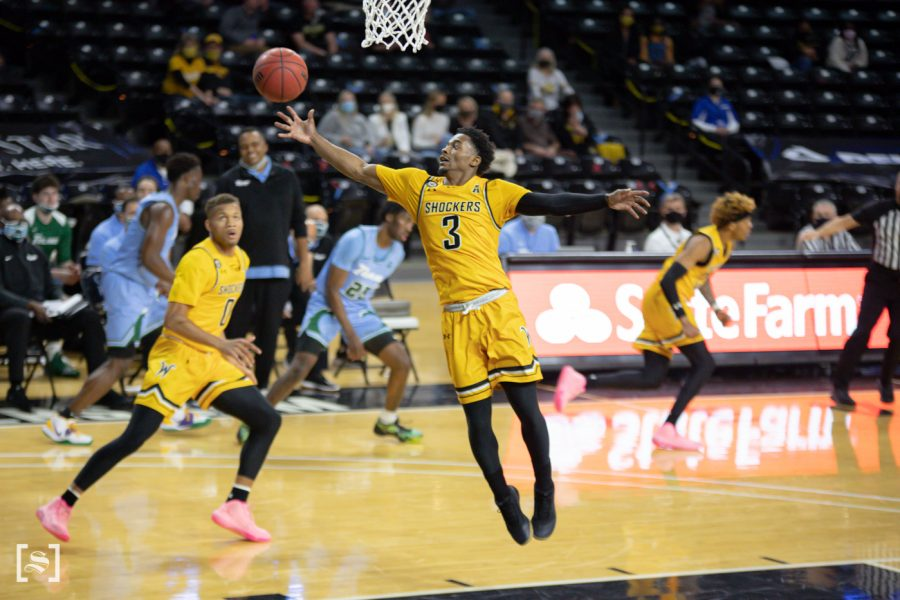 Wichita State redshirt senior Alterique Gilbert gets a rebound during the game against Tulane at Charles Koch Arena on Feb. 3.