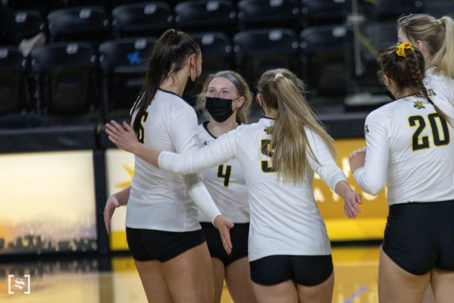 Wichita State sophomore Lily Liekweg celebrates with her teammates during the game against North Texas at Charles Kock Arena on Feb. 4.