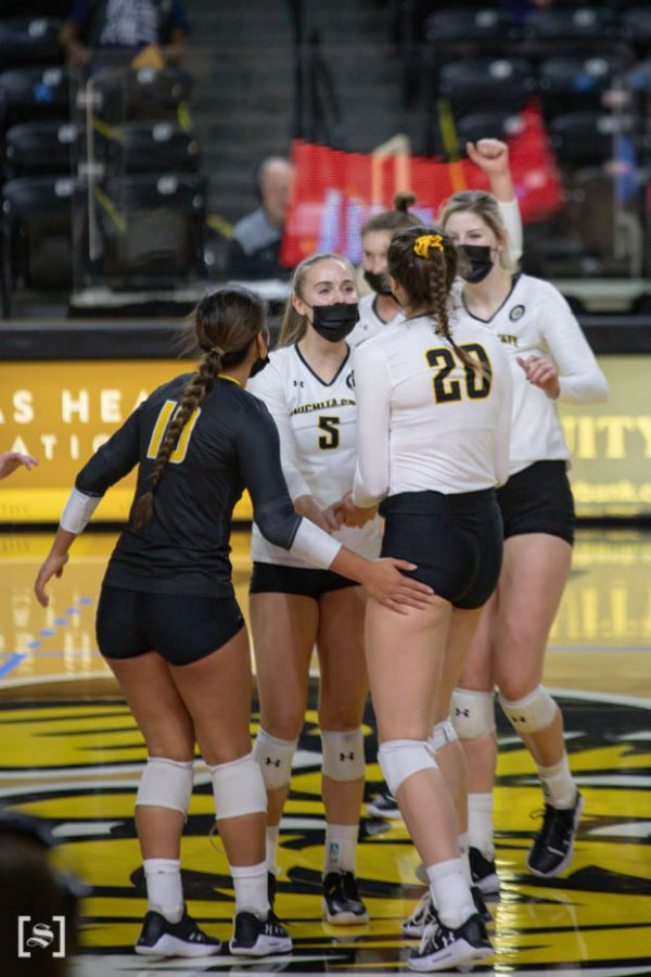 Wichita State sophomore Kayce Litzau celebrates with her teammates during the game against North Texas at Charles Kock Arena on Feb. 4.