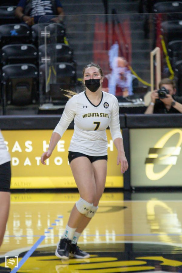 Wichita State sophomore Nicole Anderson prepares to spike during the game against North Texas at Charles Kock Arena on Feb. 4.