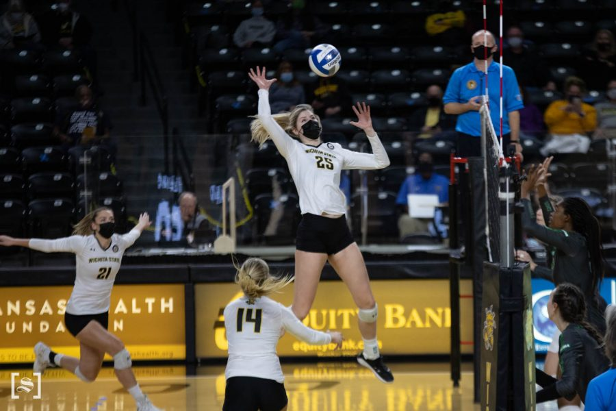 Wichita State senior Brooke Smith spikes the ball during the game against North Texas at Charles Kock Arena on Feb. 4.