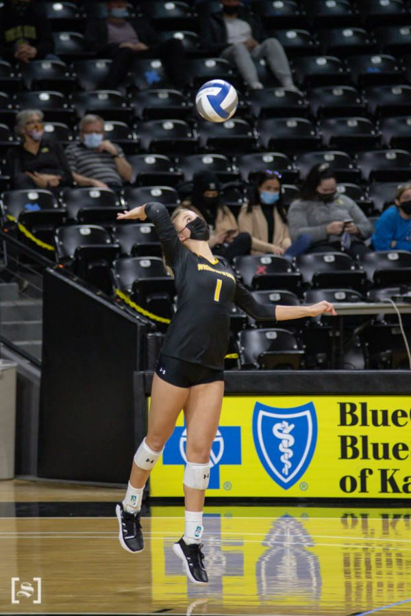 Wichita State redshirt freshman Skylar Goering sets the ball during the scrimmage at Charles Kock Arena on Feb. 19.
