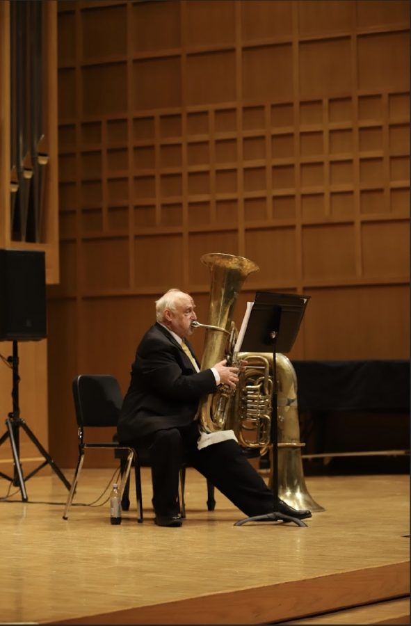 Assistant+Music+Professor+Phillip+Black+plays+tuba+at+the+performance+held+inside+Weidemann+Recital+Hall+Sunday.