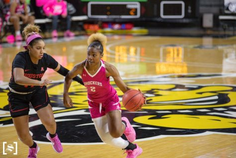 Senior Mariah McCully looks to drive to the basket during WSU