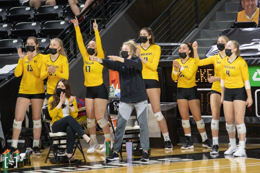 The team cheers from the sidelines during the game against the Memphis Tigers at Charles Kock Arena on Mar. 5.