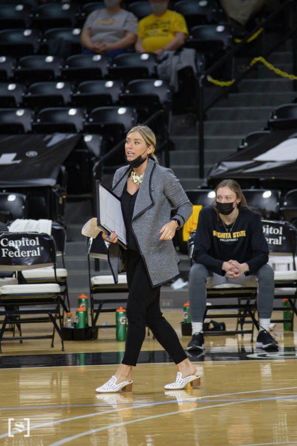 Assistant coach Chelsea Scott guides the team during the game against the Memphis Tigers at Charles Kock Arena on Mar. 5.