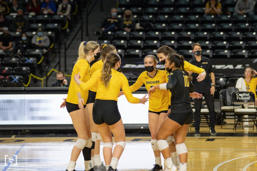 The team celebrates during the game against the Memphis Tigers at Charles Kock Arena on Mar. 5.