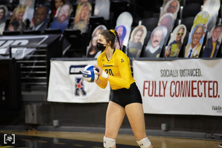Wichita State sophomore Sophia Rohling prepares to serve the ball during the game against the Memphis Tigers at Charles Kock Arena on Mar. 5.