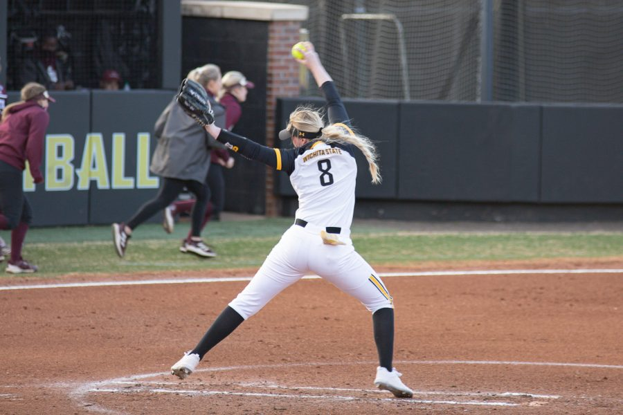 Wichita State junior Caitlin Bingham pitches at Wichita State game on March 11, 2021.