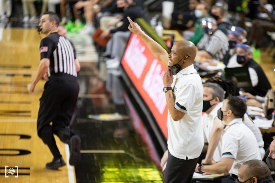 Interim+Head+Coach+Isaac+Brown+talks+to+his+players+during+the+game+against+USF+on+March+6+at+Charles+Koch+Arena.
