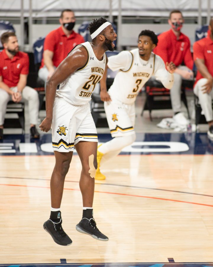 Wichita State junior Morris Udeze gets hyped during the game against Cincinnati at Dickies Arena on Mar. 13.