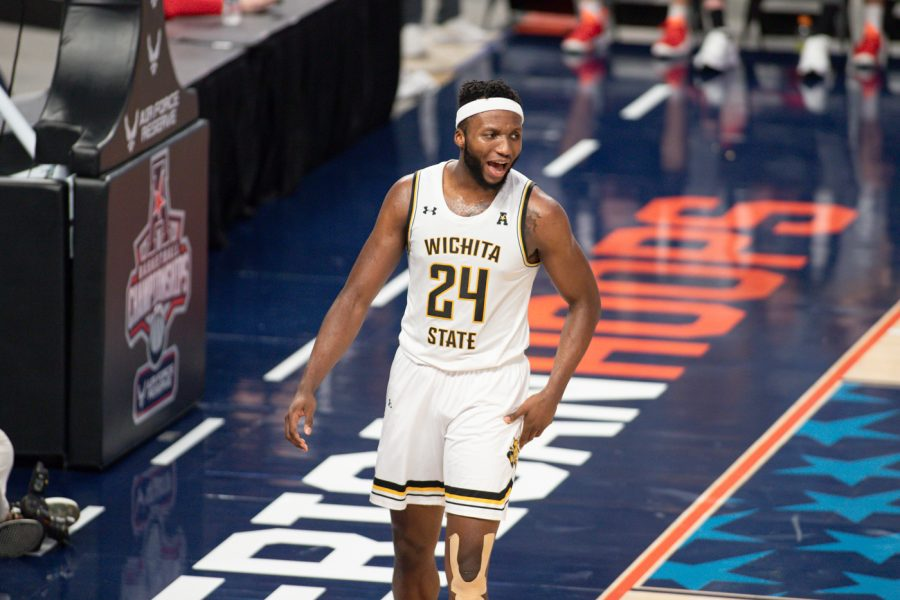 Wichita State junior Morris Udeze during the game against Cincinnati at Dickies Arena on Mar. 13.