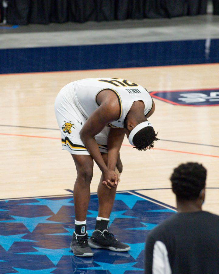 Wichita State junior Morris Udeze after the loss in the AAC Tournament Semifinals against Cincinnati on Mar. 13.