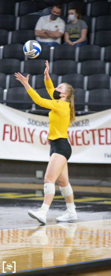 Sophomore Lily Liekweg prepares to serve in WSU's game against Houston on March 26 inside Charles Koch Arena.