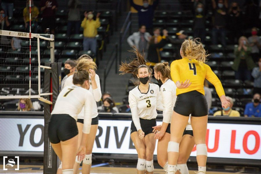 Wichita+State+celebrates+after+snapping+an+eight-match+losing+streak+during+WSU%27s+game+against+Houston+on+March+26+inside+Charles+Koch+Arena.