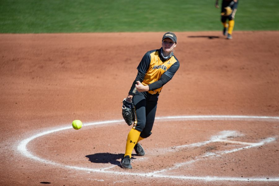Wichita State senior Bailey Lange pitches during the game against ECU at Wilkins Stadium on Mar. 28, 2021.