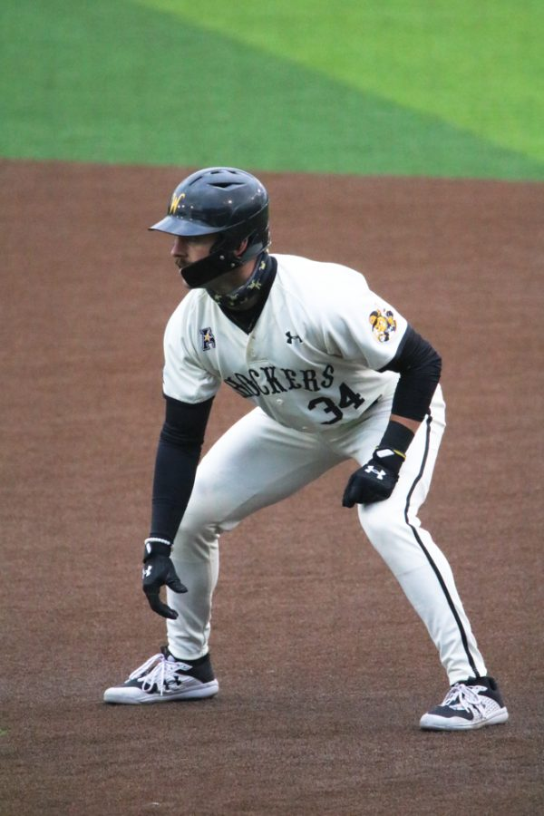Wichita State senior, Corrigan Bartlett gets ready to run to second base during a game against Kansas University at Eck Stadium on March 23.