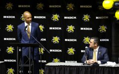 Isaac Brown speaks to the press during the inauguration of WSU men's basketball coach at Koch Arena on March 1.